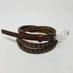"Studded Brown Skinny Belt Size Medium 3/8"" Wide"